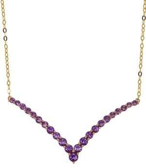 Lord & Taylor Amethyst and 14K Yellow Gold Chevron Necklace