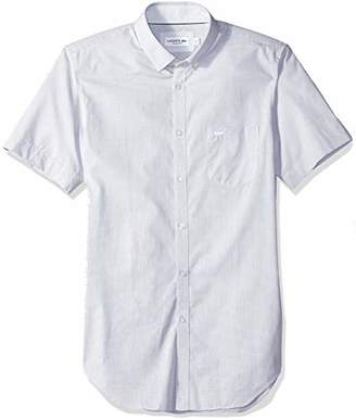 Lacoste Men's Short Sleeve Dobby Button Down Woven Shirt