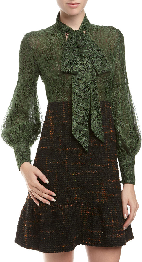 RED Valentino Long-Sleeve Lace & Tweed Combo Dress, Green