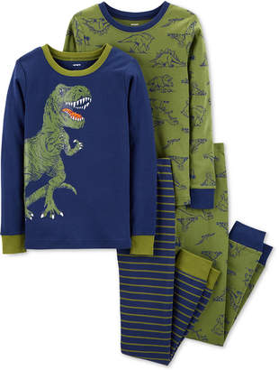 Carter's Little & Big Boys 4-Pc. Dino-Print Cotton Pajamas Set