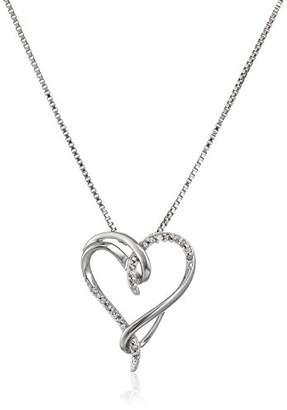 Sterling Silver Diamond Interlocking Heart Pendant Necklace(1/10 cttw