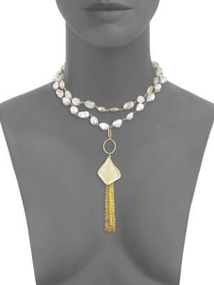 Alanna Bess 13MM Baroque Pearl & Peach Moonstone Tassel Necklace