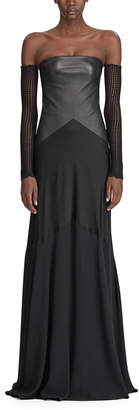 Ralph Lauren Emerick Strapless Leather-Bodice Evening Gown