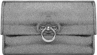 Rebecca Minkoff Jean Cracked-effect Metallic Leather Clutch