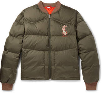 Gucci Quilted Embroidered Ripstop Down Jacket - Men - Green