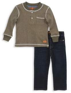 7 For All Mankind Little Boy's Two-Piece Shirt & Jeans Set