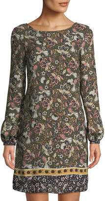 Laundry by Shelli Segal Balloon-Sleeve Floral-Print Shift Dress