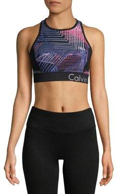 Calvin Klein Connection-Print Racerback Sports Bra