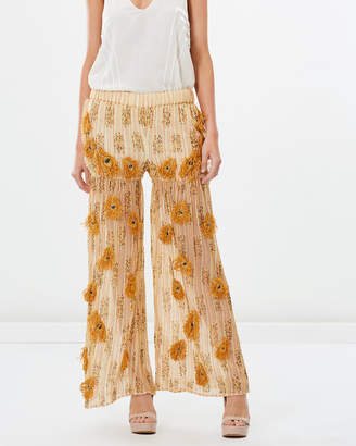 The Embroidered Beaded Peacock Patchwork Pants