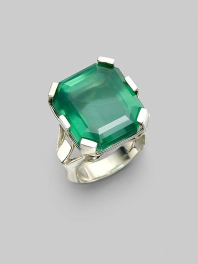 Stephen Dweck Green Agate & Sterling Silver Ring