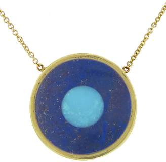 Jennifer Meyer Lapis Inlay and Turquoise Center Evil Eye Pendant Necklace - Yellow Gold