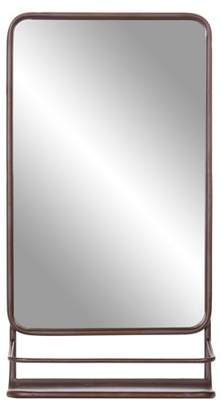 Patton Wall Decor Bronze Metal Wall Accent Mirror with Shelf