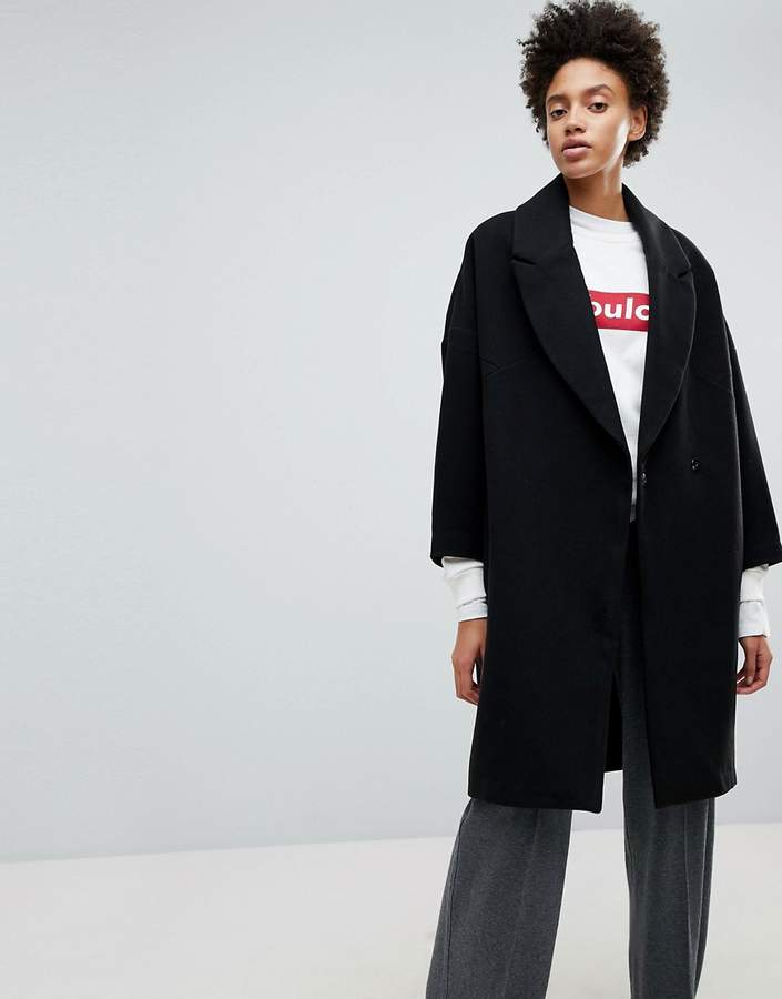 Stradivarius Black Longline Smart Coat