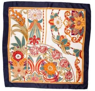 Salvatore Ferragamo Floral Print Silk Scarf