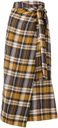 Forte Forte plaid wrap front skirt