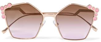 Fendi Studded Square-frame Rose Gold-tone Sunglasses - Pink