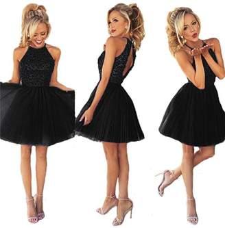 Ubridal Short Beading Keyhole Back Tulle Homecoming Dresses Prom Gowns