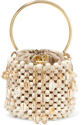 Rosantica Vega Embellished Beaded Bucket Bag - White
