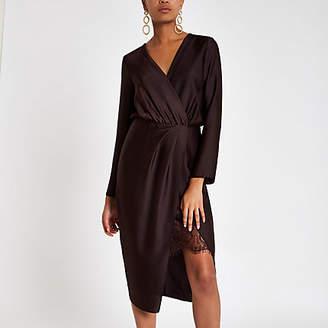 River Island Burgundy wrap front waisted midi dress