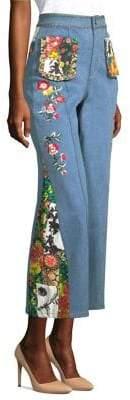 Reina Embroidered Denim Pants