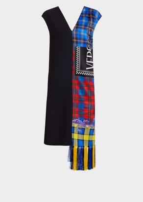 Versace Logo Knit Fringe Tartan Shift Dress