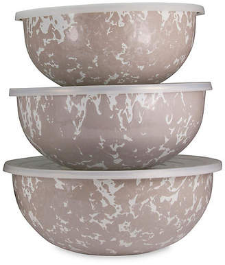 Golden Rabbit Asst. of 3 Swirl Mixing Bowls - Taupe/White