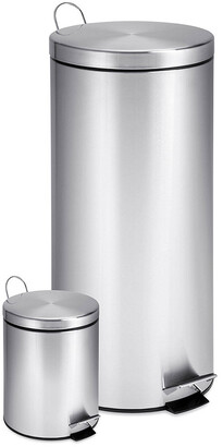 Honey-Can-Do Set Of 2 Stainless Steel Step Trash Cans