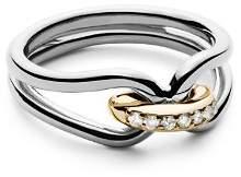 Shinola 14K Yellow Gold & Sterling Silver Diamond Lug Ring