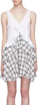 Opening Ceremony Check plaid panel tiered ruffle dress