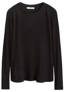 MANGO Ribbed wool-blend t-shirt