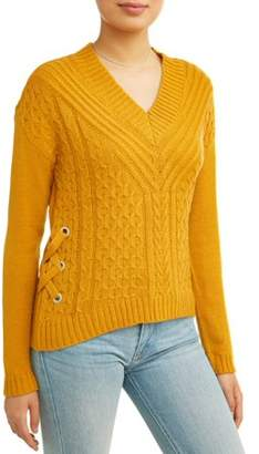 No Boundaries Juniors' Lace-Up V-Neck Cable Knit Sweater