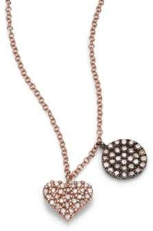 Meira T Diamond& 14K Rose Gold Heart Pendant Necklace
