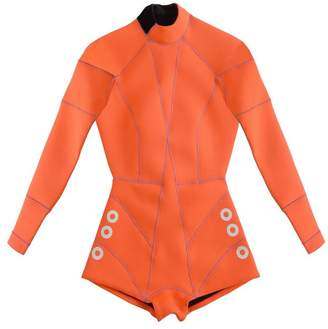 Cynthia Rowley Faux Grommet Neon Orange Wetsuit