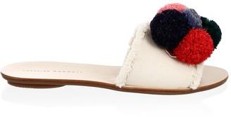Loeffler Randall Gabi Leather & Canvas Pom Pom Slides