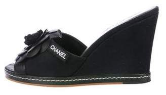 Chanel Camellia Slide Wedges