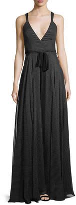 Milly Monroe Silk Polka-Dot Self-Tie Gown