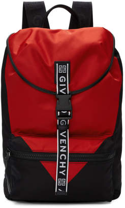 Givenchy Black and Red Triangle Backpack