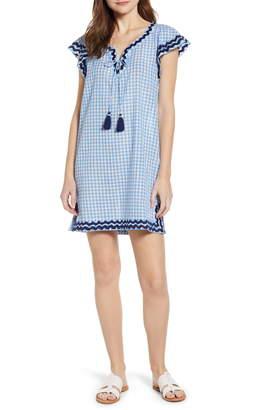 Vineyard Vines Gingham Ruffle Sleeve Embroidered Shift Dress