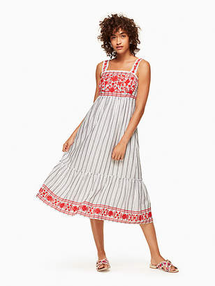 Stripe embroidered midi dress