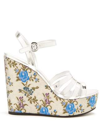 Prada Floral Jacquard Leather Wedge Sandals - Womens - Silver Multi