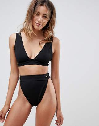 Asos DESIGN gold stud detail bandage deep crop bikini top