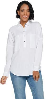 Peace Love World Textured Cotton Boyfriend Henley Shirt