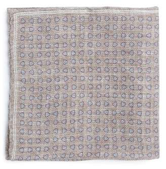 Brunello Cucinelli Geometric-print linen-blend pocket square
