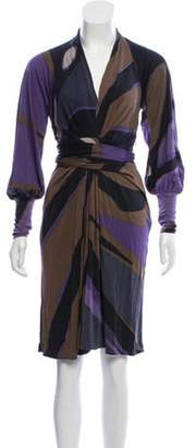 Issa Printed Wrap Dress Purple Printed Wrap Dress