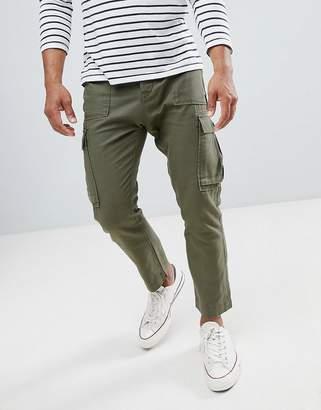 Celio cropped cargo pants in linen