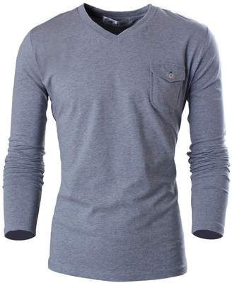 Toms Tom's Ware Mens Casual Slim Fit V-neck with Patched Pocket Longsleeve T-shirts TWCUT03-XXL (US XL)