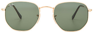 Ray-Ban Hexagonal Flat Lens in Metallic Gold. $176 thestylecure.com