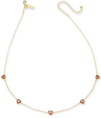 "Kate Spade Crystal Heart Collar Necklace, 17"" + 3"" extender"