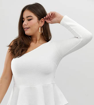 Asos DESIGN Curve one shoulder top with peplum hem in textured fabric