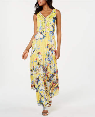 MSK Floral Embellished Chiffon Maxi Gown